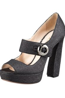 Prada Lurex Peep-toe Mary Jane Pump - Lyst