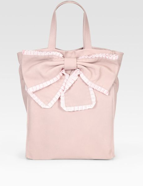 Red Valentino Ribbon Trim Tote Bag in Pink (rose) - Lyst