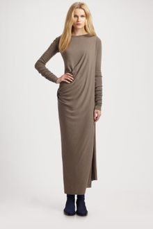 Rick Owens Lilies Long Ruched Dress - Lyst
