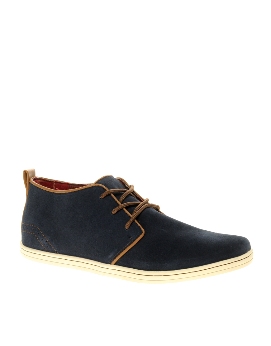 river island suede piped desert boots in blue for lyst