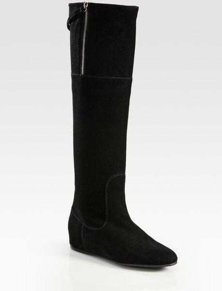 stuart weitzman upbeat flat suede boots in black lyst
