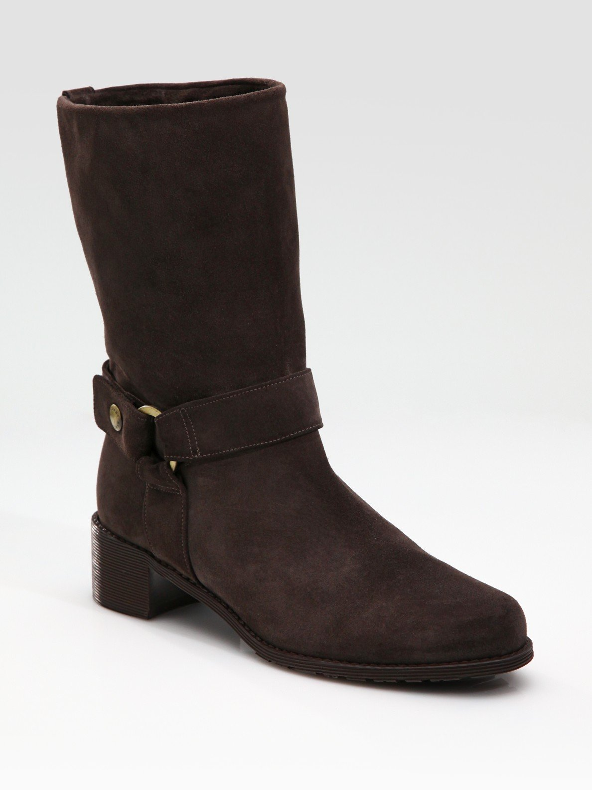 stuart weitzman pimlico suede biker boots in brown coffee