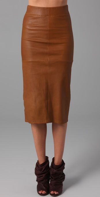 Zero   maria cornejo Leather-covered Pencil Skirt in Brown | Lyst