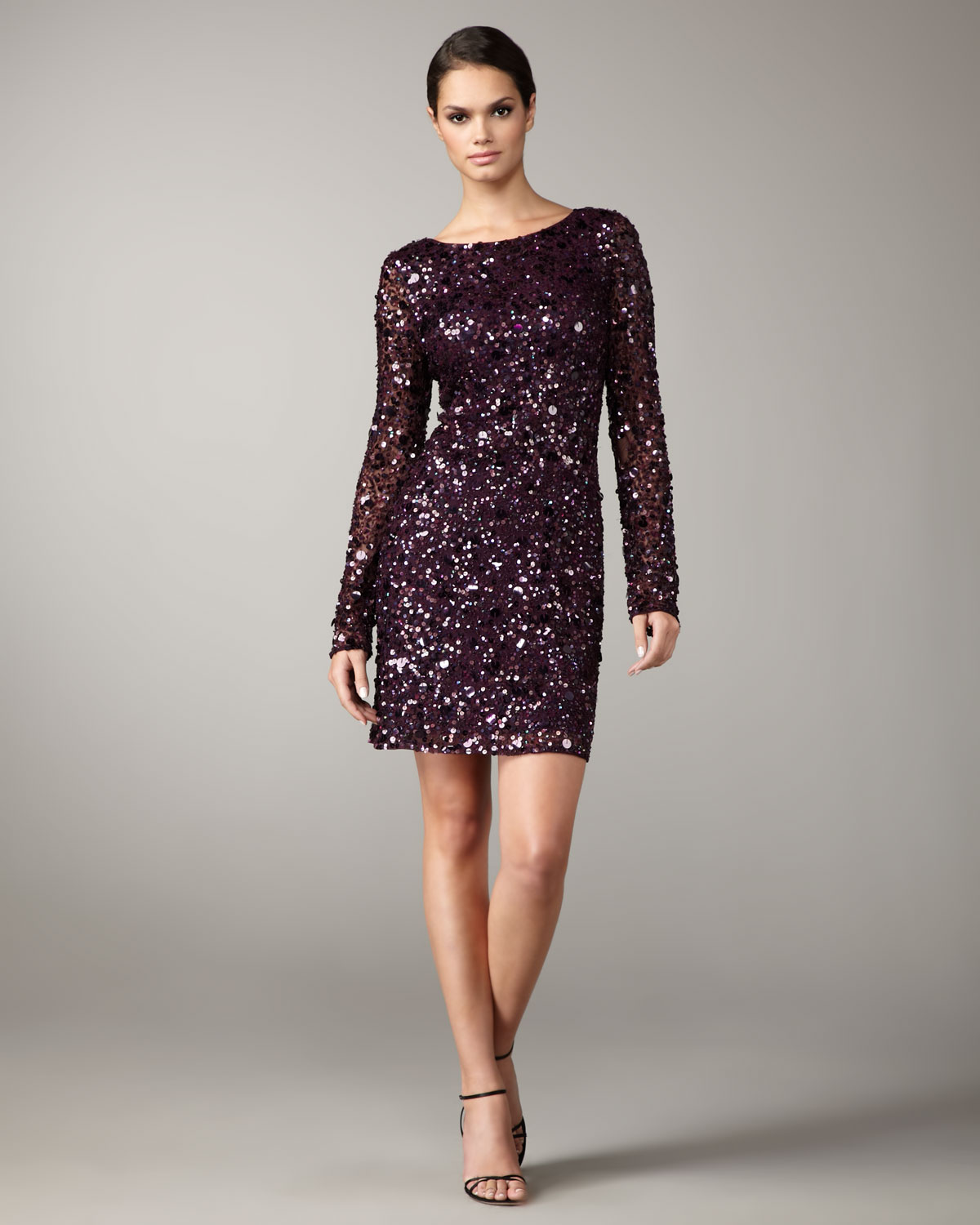Aidan mattox Long-sleeve Sequined Shift Dress in Purple | Lyst