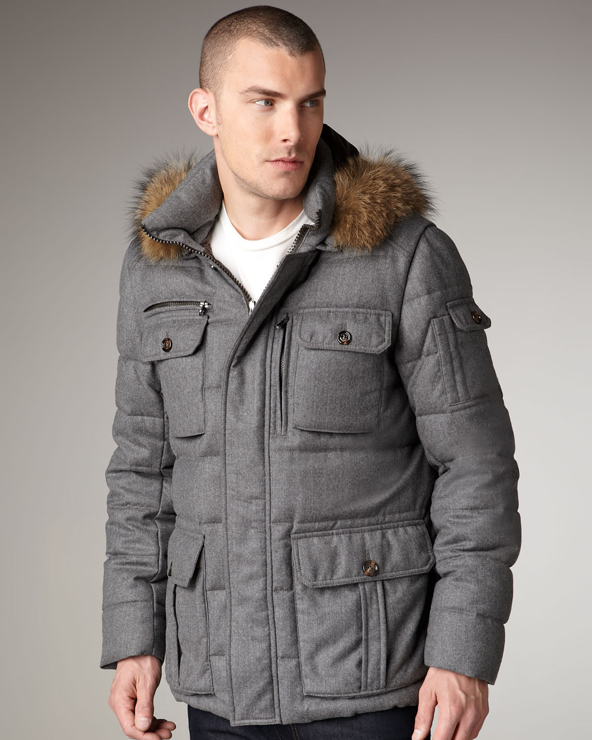 Moncler Fur-trim Hooded Parka in Gray for Men | Lyst
