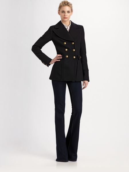 Rachel Zoe Fay Short Peacoat in Black - Lyst