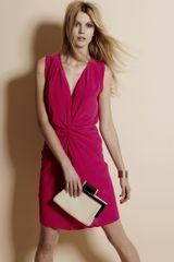 Reiss Silk Drape Dress in Pink (fuchsia) - Lyst