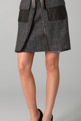 Robert Rodriguez Tweed Skirt with Leather Trim - Lyst