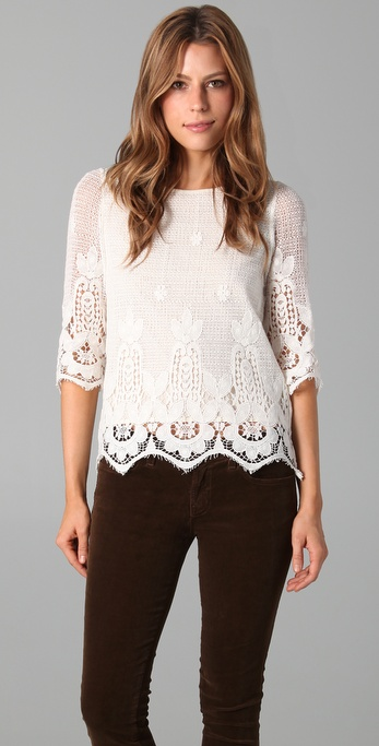 Beyond Vintage Lace Blouse In White Lyst