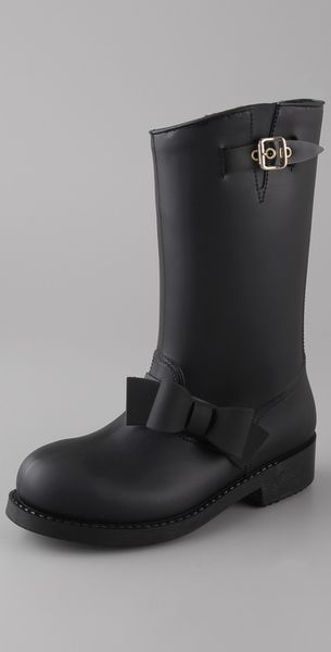 RED Valentino Rubber Boots with Bow - Lyst