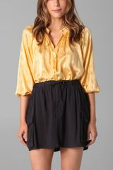 Tucker Smocked Collar Blouse - Lyst