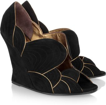 Yves Saint Laurent Jinny Suede Wedges - Lyst