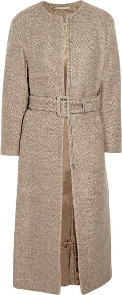Acne Farrah Collarless Wool Coat in Beige (sand) - Lyst