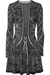 Alexander McQueen Knitted Silk and Wool-blend Intarsia Dress