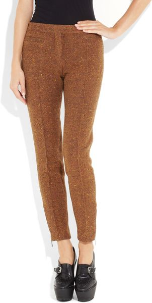 Burberry Prorsum Wool Blend Tweed Cropped Pants In Orange
