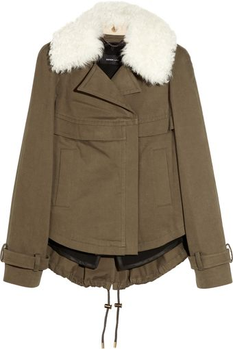 Derek Lam Shearling-trimmed Cotton-blend Coat - Lyst