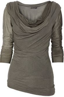 Donna Karan New York Draped Jersey and Satin-jersey Top - Lyst