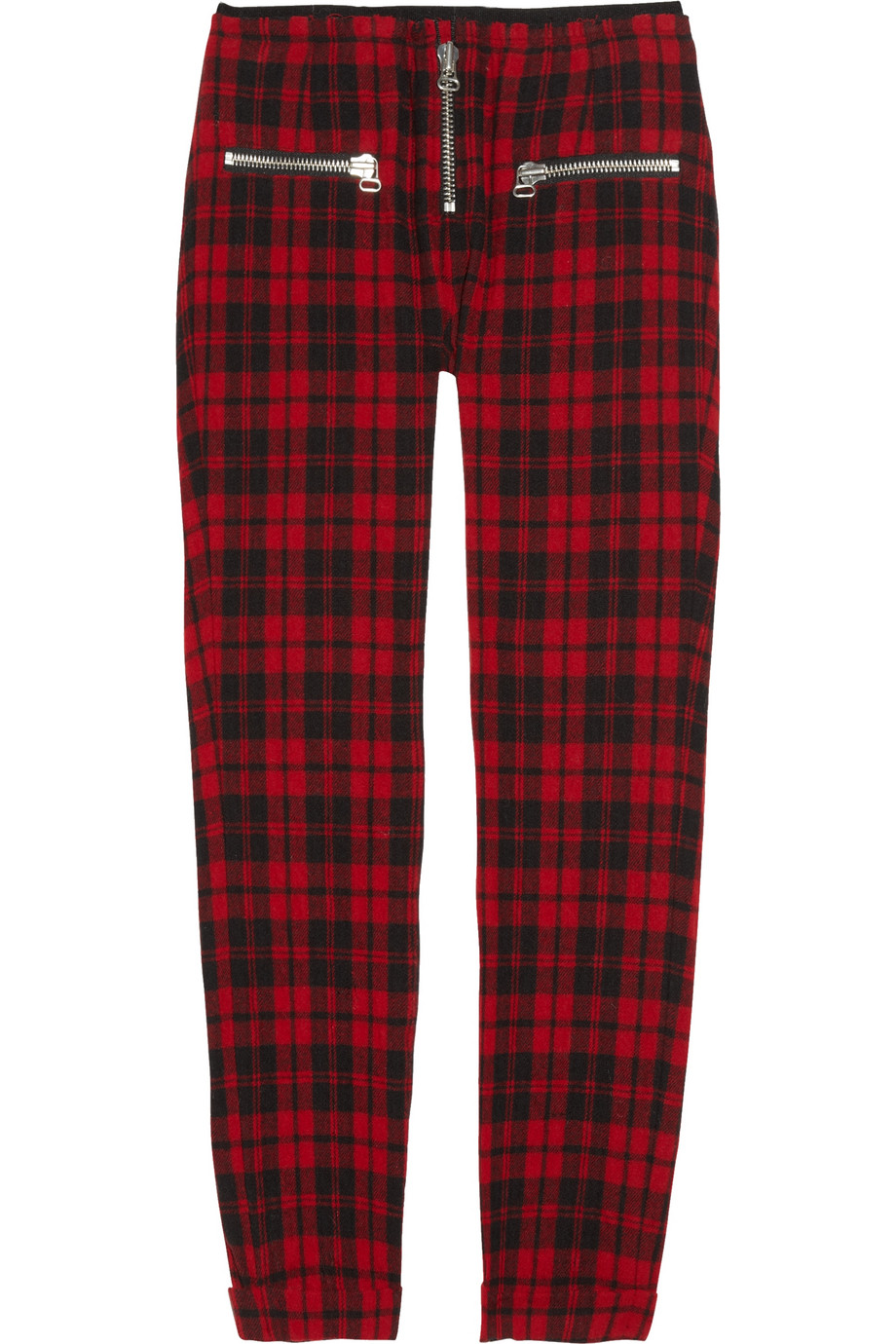 Étoile isabel marant Gary Cropped Tartan Woolblend Pants in Red | Lyst