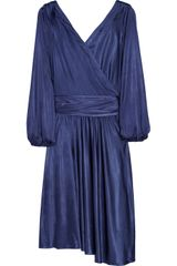 Halston Heritage Satin-jersey Wrap-effect Dress - Lyst