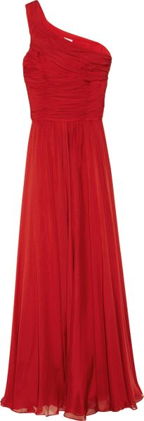 Halston Heritage One-shoulder Silk-chiffon Gown in Red (scarlet)