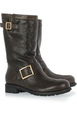 Jimmy Choo Textured-leather Biker Boots - Lyst