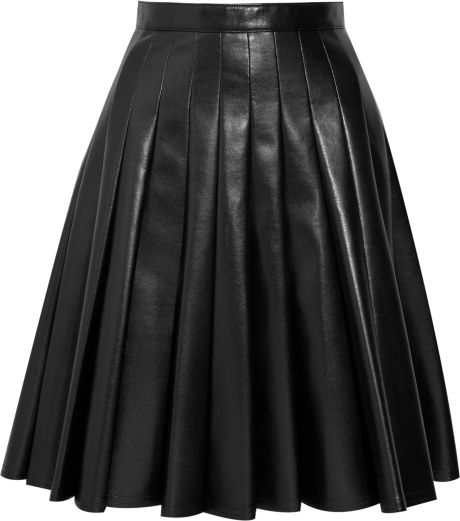 junya watanabe pleated a line faux leather skirt in black