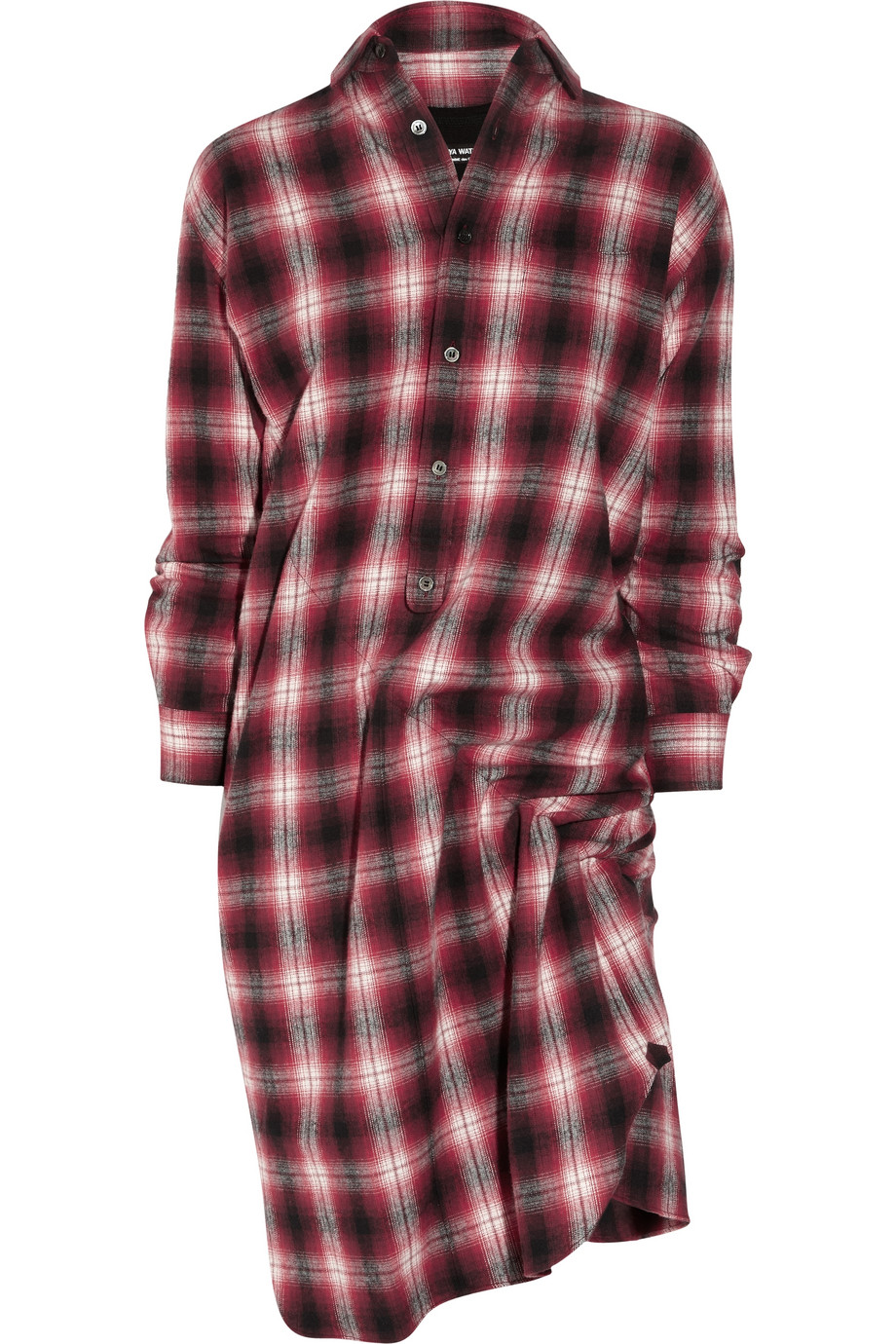 Junya watanabe asymmetric plaid cotton shirt dress in red for Red plaid dress shirt