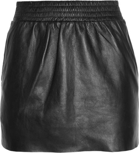 Maje Jalouse Leather Mini Skirt in Black - Lyst