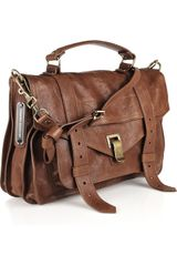 Proenza Schouler Ps1 Large Leather Satchel in Brown (chestnut) - Lyst