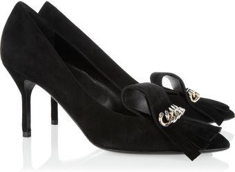 Yves Saint Laurent Opyum Embellished Suede Pumps - Lyst