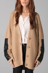 By Malene Birger Igano Leather-paneled Wool-blend Cardigan - Lyst