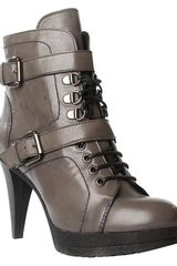 Carvela Suspicious Leather Lace Up Ankle Boots Grey - Lyst