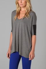 Mason by Michelle Mason Short Sleeve Top with Leather Trim - Lyst