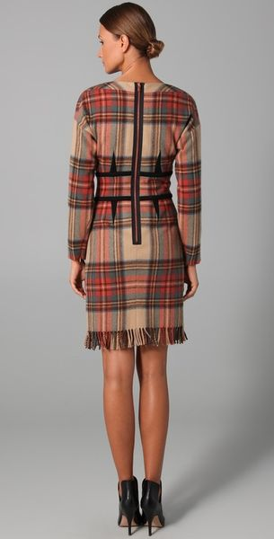 sonia rykiel plaid long sleeve dress in brown beige lyst. Black Bedroom Furniture Sets. Home Design Ideas