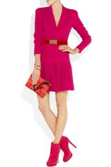 Alexander Mcqueen Woolcrepe and Silkchiffon Dress in Pink (fuchsia) - Lyst