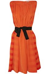 Bottega Veneta Belted Striped Silk Dress - Lyst