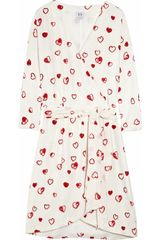 Halston Heritage Heart-print Silk Wrap Dress - Lyst