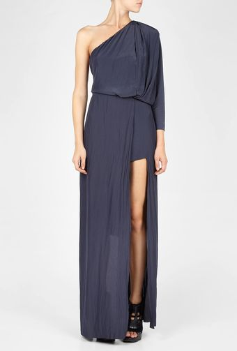Acne Steel Blue Emile One Shoulder Maxi Dress - Lyst