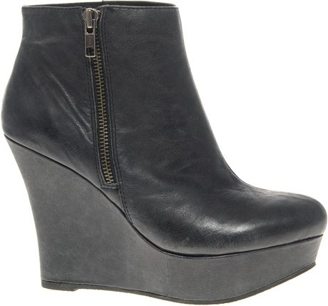 aldo aldo genista wedge boots with side zip in black lyst