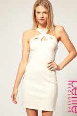 Asos Collection Asos Petite Exclusive Strappy Zip Back Bodycon Dress in White (cream) - Lyst