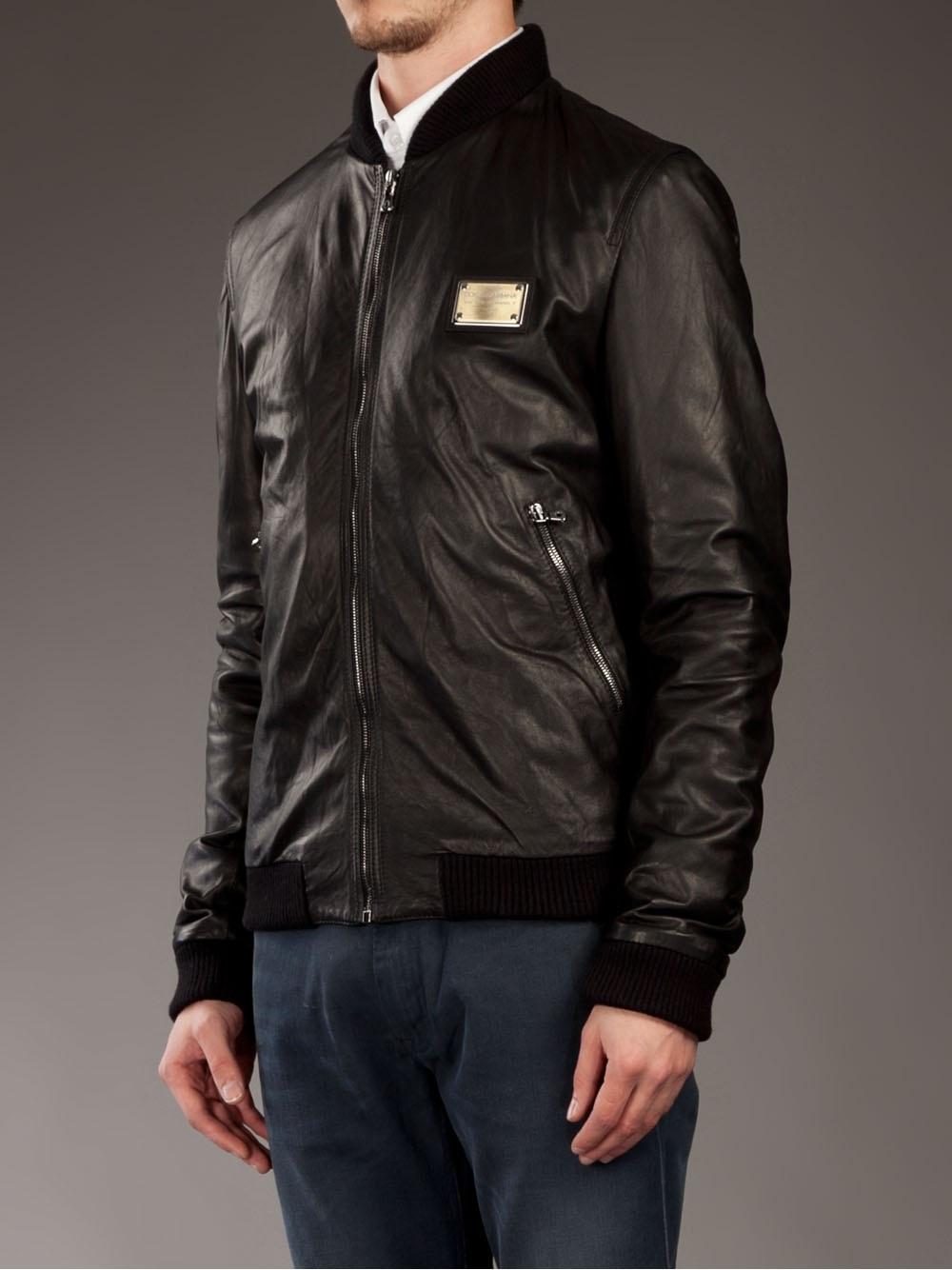 lyst dolce gabbana leather bomber jacket in black for men. Black Bedroom Furniture Sets. Home Design Ideas