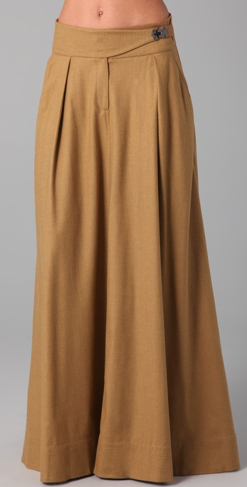 L.a.m.b. A Line Maxi Skirt in Brown | Lyst