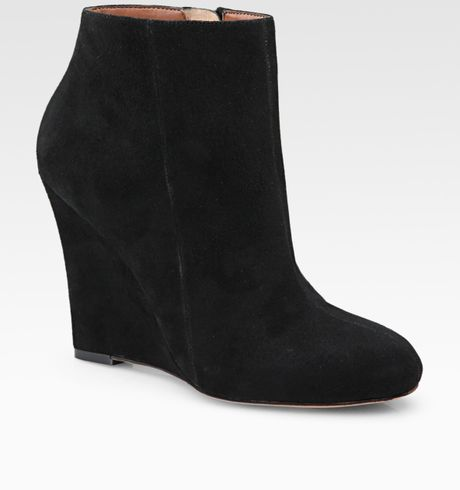 sam edelman wilma suede wedge ankle boots in black lyst