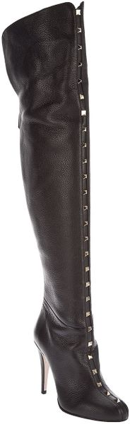 Valentino Long Studded Boot in Black - Lyst
