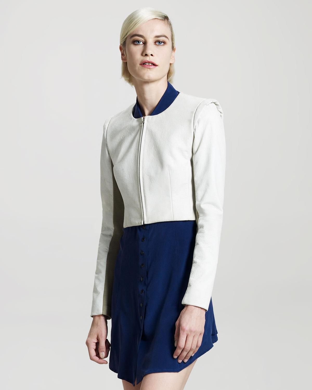 Vena cava Short Leather Jacket in White | Lyst