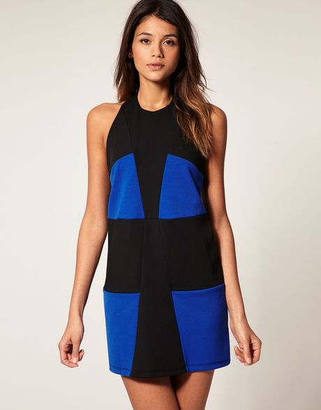 Asos Collection Asos Shift Dress in Colour Block in Blue (blueblack) - Lyst