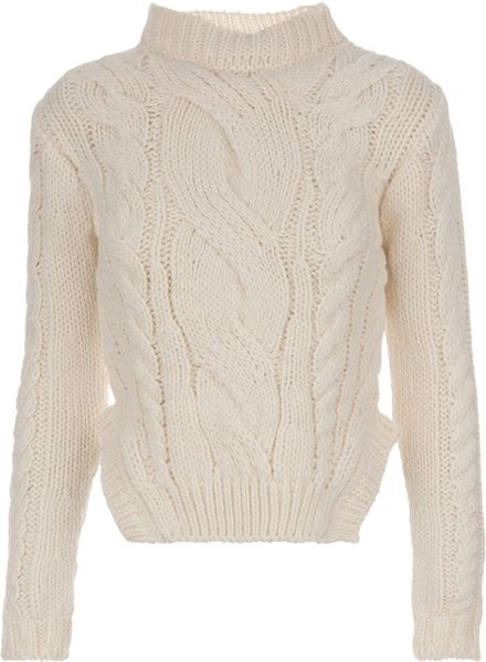 Carven Knitted Jumper in Beige (cream) - Lyst