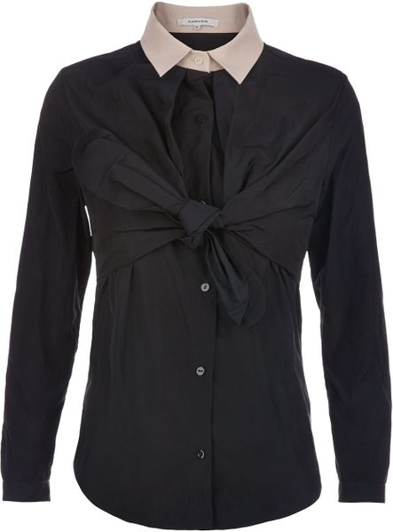 Carven Blouse in Blue (navy) - Lyst