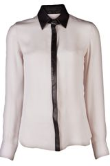 Cushnie Et Ochs Leather Detail Blouse - Lyst