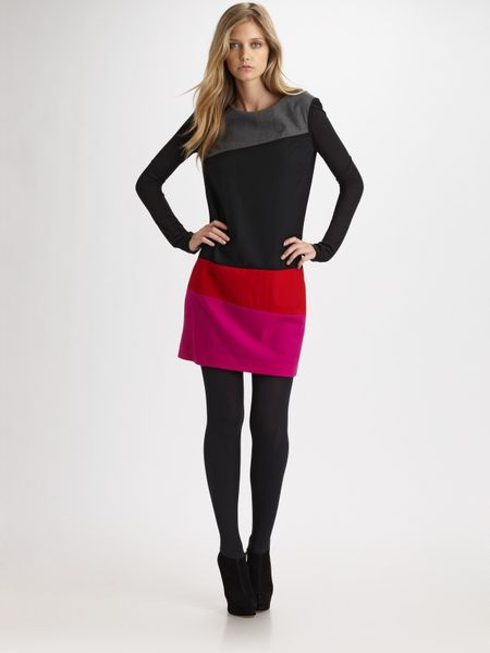 Dkny Colorblock Wool Dress in Multicolor (black) - Lyst